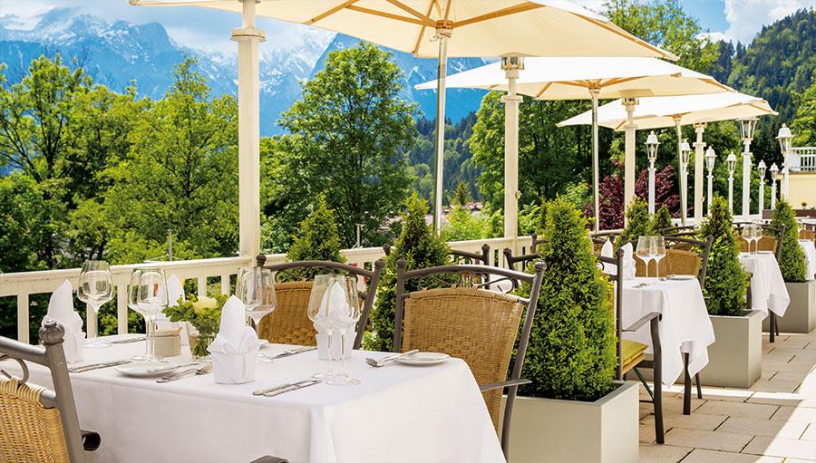 Terrace restaurant Grand Hotel Sonnenbichl Garmisch Partenkirchen