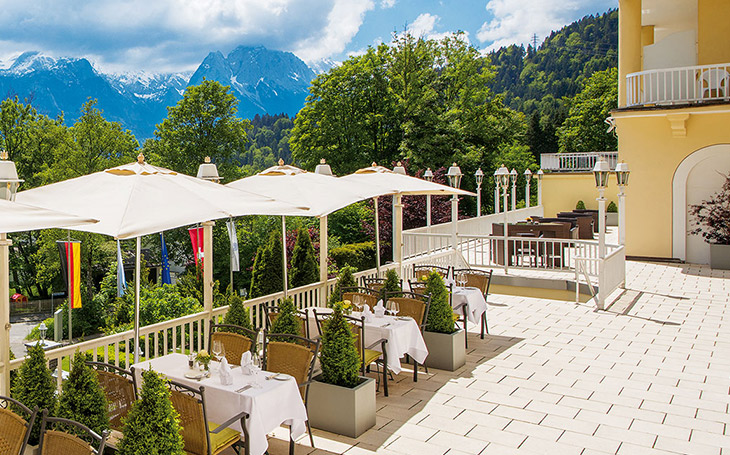 Terrace with alp view - Grand Hotel Sonnenbichl garmisch partenkirchen Germany